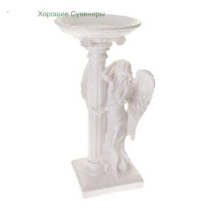 Ангел девушка у колонны / белый