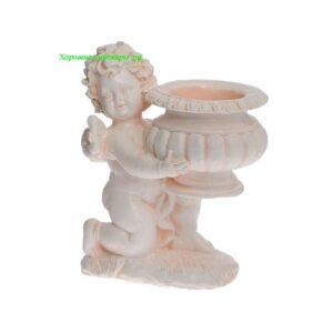 Ангел с чашей на колене - кашпо / бежевый