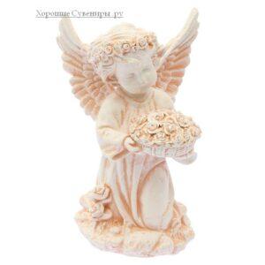 Ангел с чашей цветов / бежевый