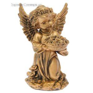 Ангел с чашей цветов / бронза - полистоун