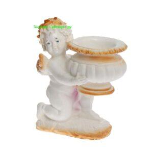 Ангел с чашей на колене - кашпо / бело золотой
