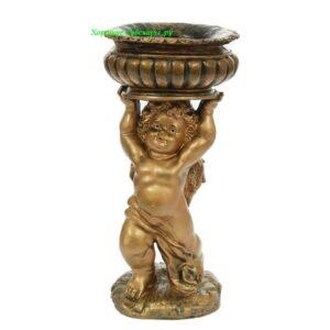 Ангел с чашей над головой с кашпо / бронза