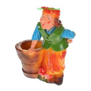Баба яга со ступой - кашпо
