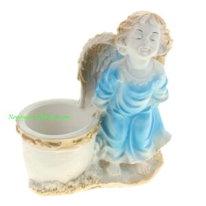 Ангел целующий кашпо / бело голубой