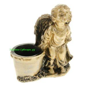Ангел целующий кашпо / бронза - полистоун