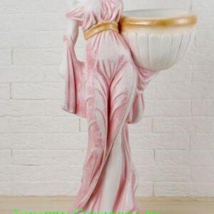 Девушка в платье - фигурное кашпо / бело цветное