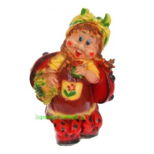 Гном Девочка Божья-коровка большая - полистоун