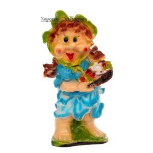 Гном девочка с корзиной цветов средняя / цвет МИКС