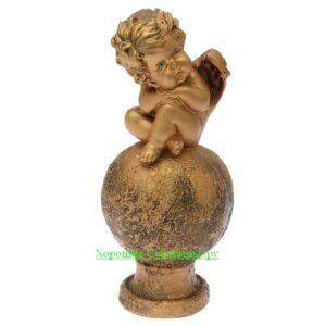Ангел карапуз на шаре / бронза - полистоун