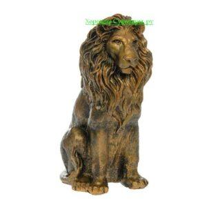 Лев сидя / бронза - полистоун