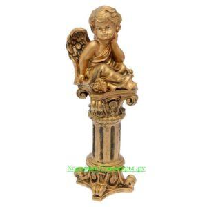 Ангел сидя на колонне / бронза - полистоун