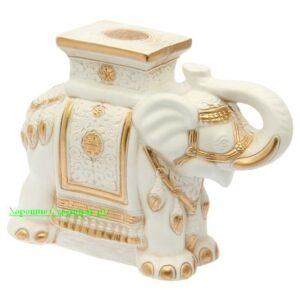 Индийский слон - подставка / бело золотой - полистоун